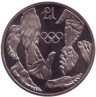 XXV летние Олимпийские игры, Барселона 1992. Монета 1 фунт. 1992 год, Кипр.