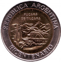 200 лет Аргентине. Развалины крепости Пукара около г. Тилькара. Монета 1 песо. 2010 год, Аргентина. UNC.