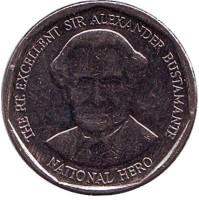 Александр Бустаманте - национальный герой Ямайки. Монета 1 доллар. 2014 год, Ямайка.