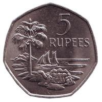 Черепаха. Пальма. Монета 5 рупий. 1972 год, Сейшельские острова.