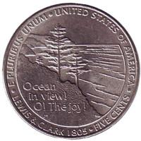 Выход к океану. Монета 5 центов (D), 2005 год, США. Из обращения.