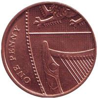 Монета 1 пенни. 2014 год, Великобритания.