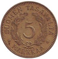 Монета 5 марок. 1940 год, Финляндия.