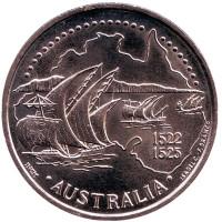 Открытие Австралии 1522 год. Великие географические открытия. Монета 200 эскудо. 1995 год, Португалия.