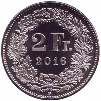 Гельвеция. Монета 2 франка. 2016 год, Швейцария. UNC.