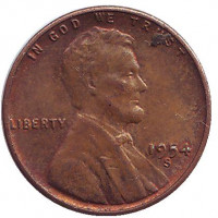 Линкольн. Монета 1 цент. 1954 год (S), США.