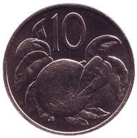 Апельсин. Монета 10 центов. 1974 год, Острова Кука. UNC.