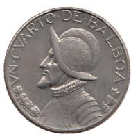 Васко Нуньес де Бальбоа. Монета 1/4 бальбоа. 1973 год, Панама.