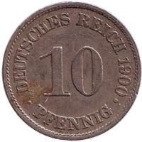 Монета 10 пфеннигов. 1900 год (A), Германская империя.