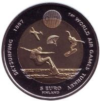 Всемирные воздушные игры в Турции. Планеристы. Монета 5 евро. 1997 год, Финляндия.