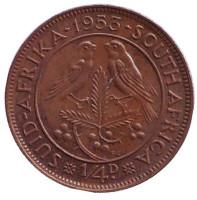 Птицы. Монета 1/4 пенни (фартинг). 1953 год, ЮАР.