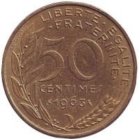 Монета 50 сантимов. 1963 год, Франция. (3 складки на воротнике)
