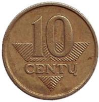 Монета 10 центов. 1999 год, Литва. Из обращения.