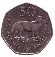 Лисица. Монета 50 пенсов. 1998 год, Фолклендские острова.