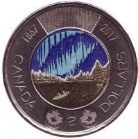 150 лет Конфедерации Канада. Полярное сияние. Монета 2 доллара. 2017 год, Канада. (Цветная).