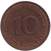 Дубовые листья. Монета 10 пфеннигов. 1984 год (J), ФРГ. (Из обращения).