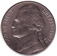 Джефферсон. Монтичелло. Монета 5 центов. 2003 год (P), США.