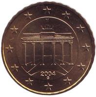 Монета 10 центов. 2004 год (G), Германия.