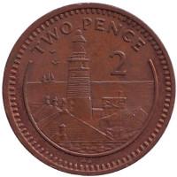 "Маяк. Монета 2 пенса. 1988 год, Гибралтар. (Отметка ""AA"")"