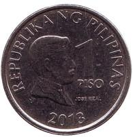 Монета 1 песо. 2013 год, Филиппины.