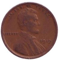 Линкольн. Монета 1 цент. 1919 год, США. (Без отметки монетного двора)