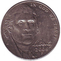 Джефферсон. Монтичелло. Монета 5 центов (P), 2006 год, США. Из обращения.