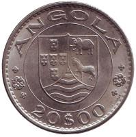Монета 20 эскудо. 1971 год, Ангола в составе Португалии.