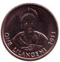 Король Мсавати III. Дзелигве Шонгве. Монета 1 лилангени. 2011 год, Свазиленд.