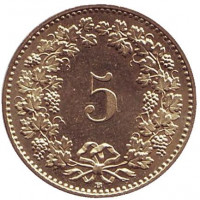 Монета 5 раппенов. 2011 год, Швейцария.