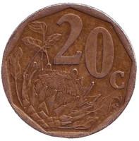 Цветок протея. Монета 20 центов. 2000 год, ЮАР. (Старый тип)