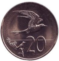 Австралийская крачка. Монета 20 центов. 1974 год, Острова Кука. UNC.