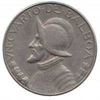 Васко Нуньес де Бальбоа. Монета 1/4 бальбоа. 1980 год, Панама.