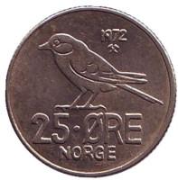 Птица. Монета 25 эре. 1972 год, Норвегия.