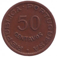 Монета 50 сентаво. 1957 год, Ангола в составе Португалии.