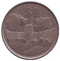 Монета 1 доллар. 1997 год, Зимбабве.