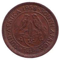 Птицы. Монета 1/4 пенни (фартинг). 1958 год, ЮАР.