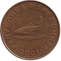 Форель. Монета 2 денара, 2001 год, Македония.