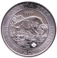 Бизон. Монета 8 долларов. 2016 год, Канада.