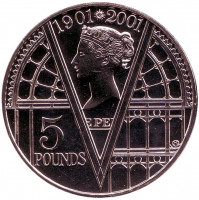100 лет со дня смерти Королевы Виктории. Монета 5 фунтов. 2001 год, Великобритания.