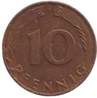 Дубовые листья. Монета 10 пфеннигов. 1989 год (F), ФРГ.