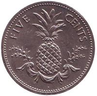 Ананас. Монета 5 центов, 1987 год, Багамские острова.