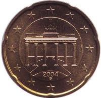 Монета 20 центов. 2004 год (G), Германия.