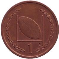 Мяч для регби. 1 пенни, 1998 год, Остров Мэн. Из обращения. (Без отметки на аверсе). Новый тип.