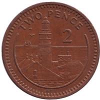 "Маяк. Монета 2 пенса. 1988 год, Гибралтар. (Отметка ""AС"")"