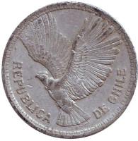 Кондор. Монета 10 песо. 1957 год, Чили.
