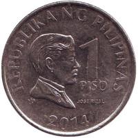 Монета 1 песо. 2014 год, Филиппины.