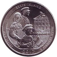 Национальный монумент острова Эллис. Монета 25 центов (P). 2017 год, США.