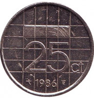 Монета 25 центов. 1986 год, Нидерланды.