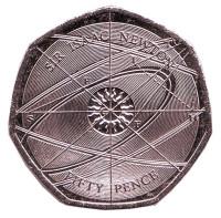 Исаак Ньютон. Монета 50 пенсов. 2017 год, Великобритания.