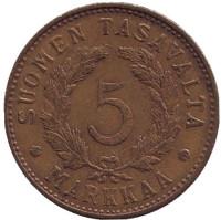 """Монета 5 марок. 1949 год, Финляндия. (""""H"""" - широкая, иголки неровные)"""